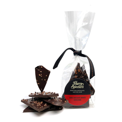 Dark chocolate shards with cocoa nibs