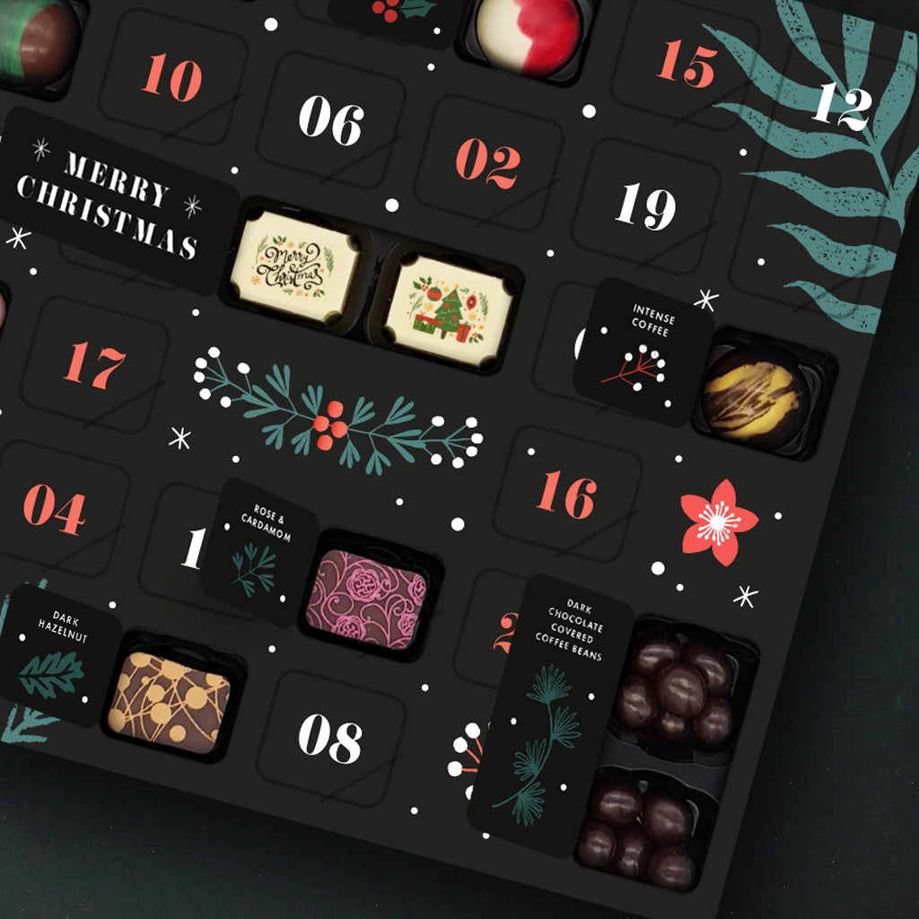 Chocolate advent calendar showing luxury chocolates