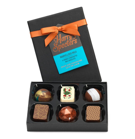 Box of 6 award-winning luxury milk chocolates including Christmas chocolate