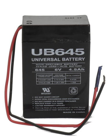 Universal Battery UB645WL with wire leads