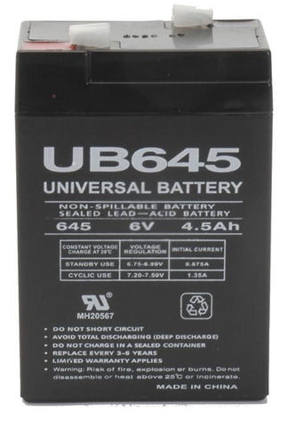 Universal Battery UB645 with F1 tabs