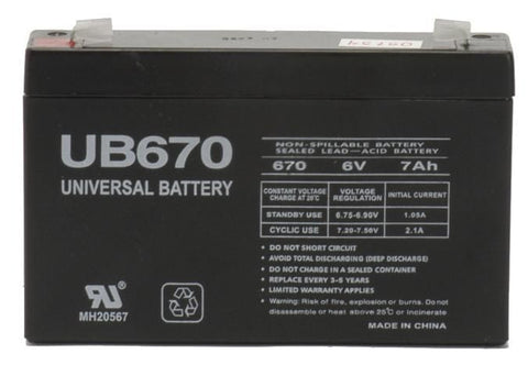 Universal Battery UB670 with F1 tabs