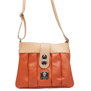 Crossbody Italian Orange Leather Bag I Medici 307