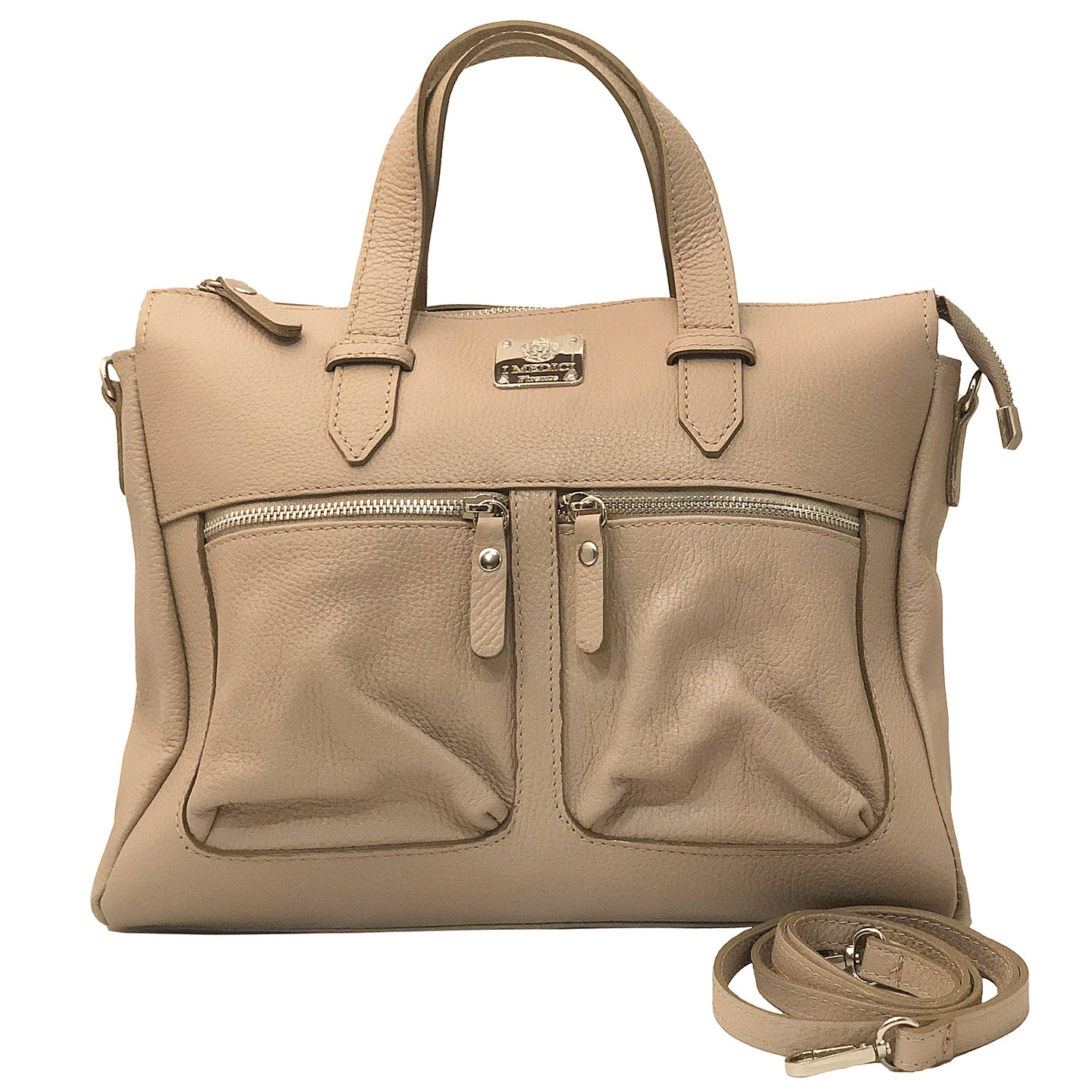 I Medici D9 Italian Cream Leather Top Handle Tote Handbag