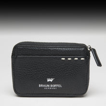 Braun Büffel Black leather Zip coin pouch