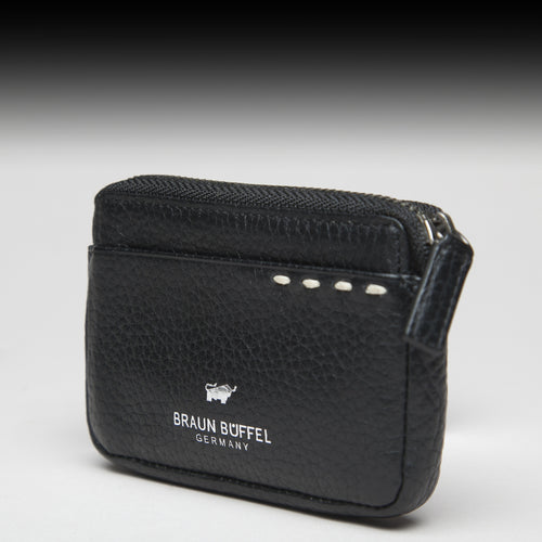 Braun Büffel Leather Zip Coin Pouch with Key Chain