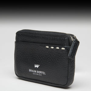 Leather Zipper Pouch Braun Büffel