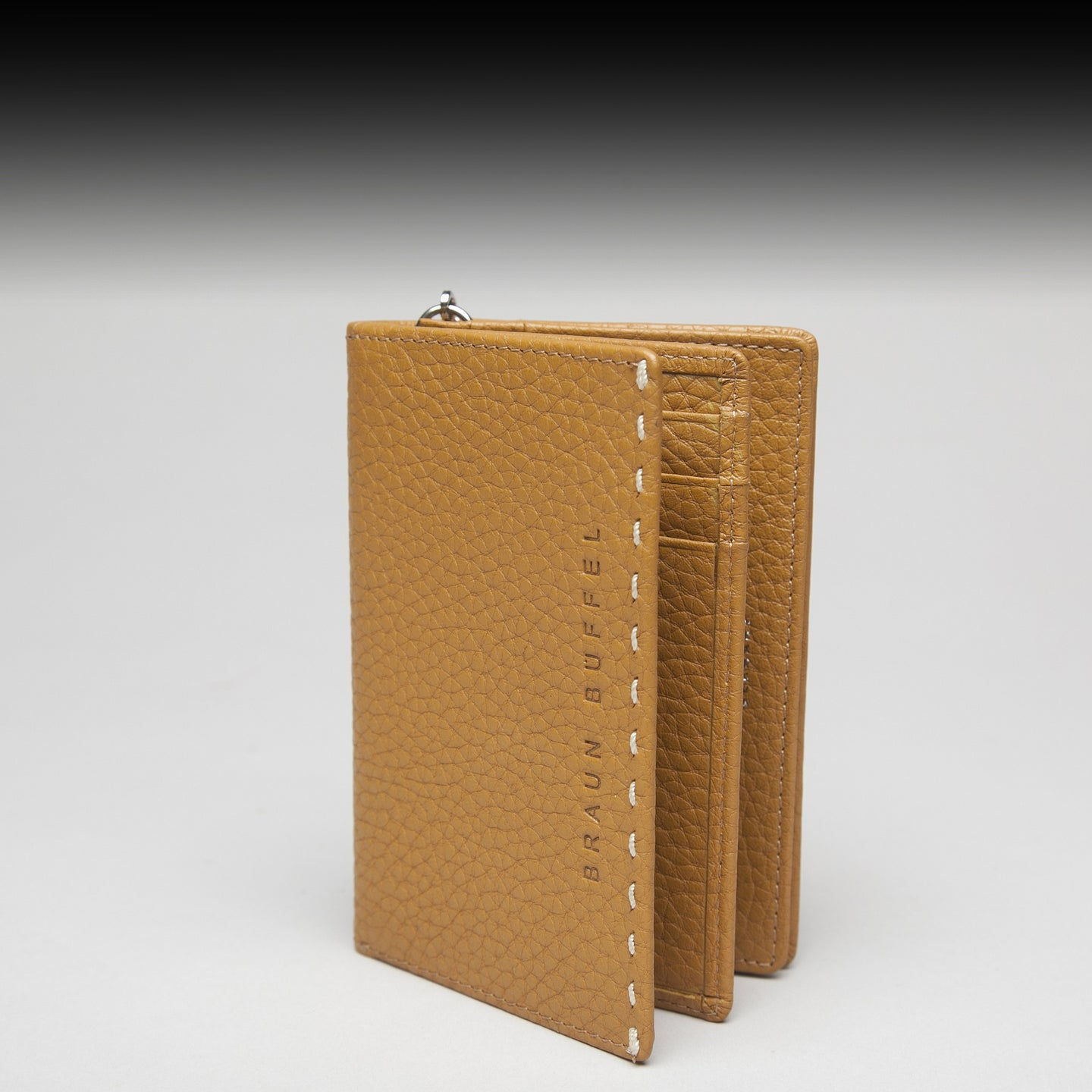 Beige Leather Wallet by Braun Büffel