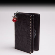 Braun Büffel chocolate leather wallet with Semi-precious gemstone,