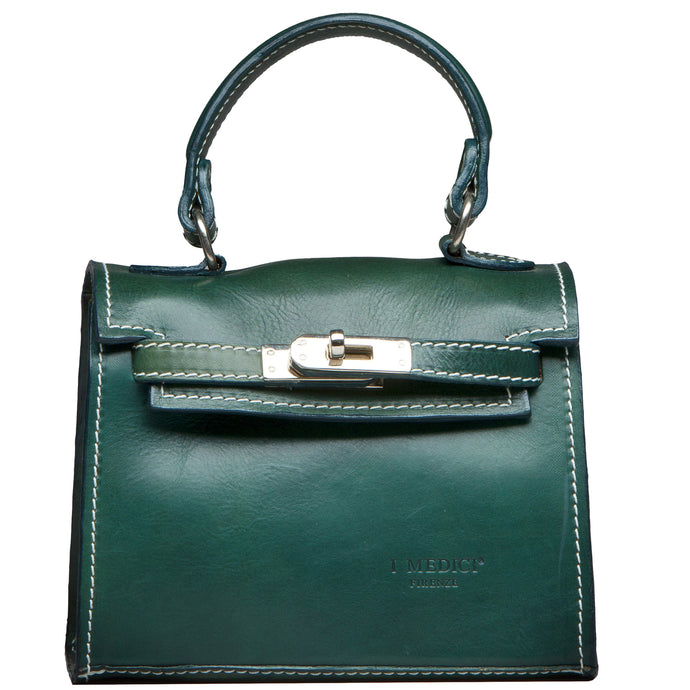 Italian Leather Green Handbags by I Medici