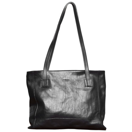 I Medici Black Italian Leather Tote Bag