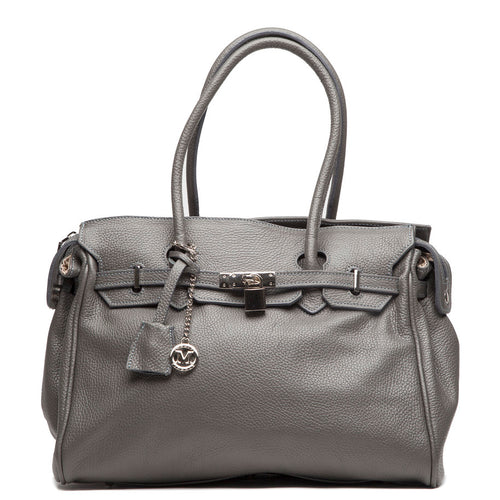Italian grey leather Handbags with top two handle by I Medici 384