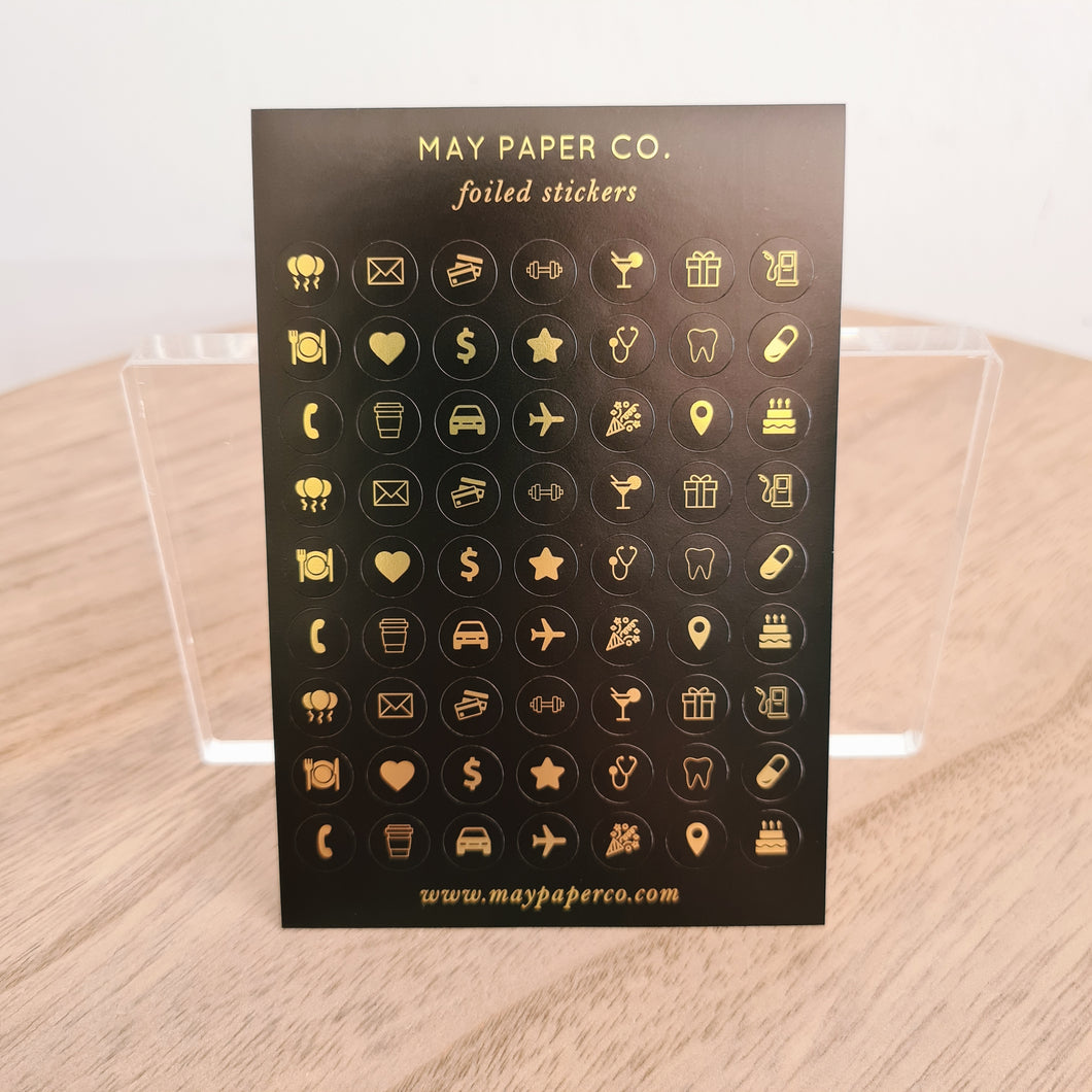 ASSORTED ICONS | Sticker Set (Black with Gold Foil)