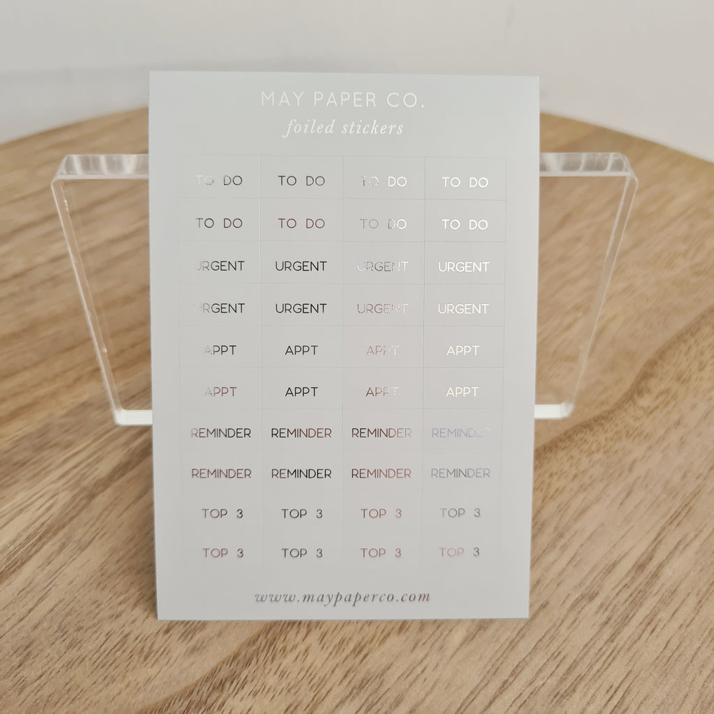 ESSENTIAL | Sticker Set (Grey with Silver Foil)