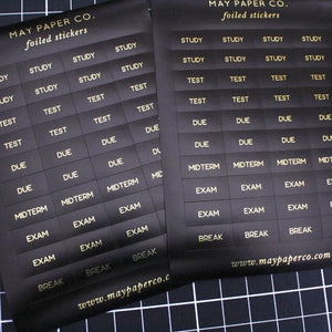 STUDY | Sticker Set (Black with Gold Foil)