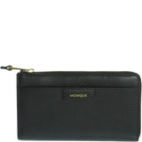 Monique-Gloria Leather Zip Around Wallet-BLACK-Womens Wallet - Gabee Bags | Gabee.com.au - 1