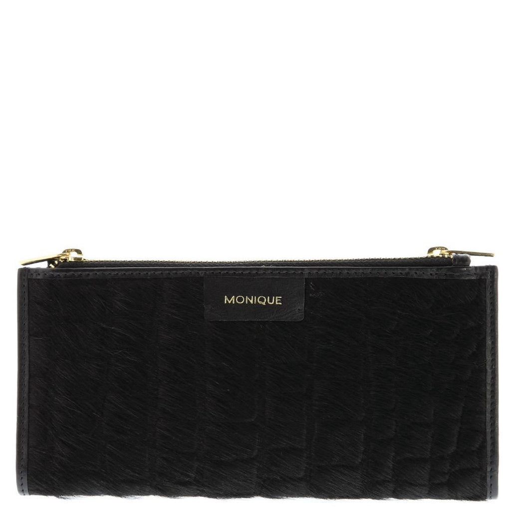 Monique-Aubrey Leather Pony Hair Purse-BLACK-CROC-Womens Wallet - Gabee Bags | Gabee.com.au - 1