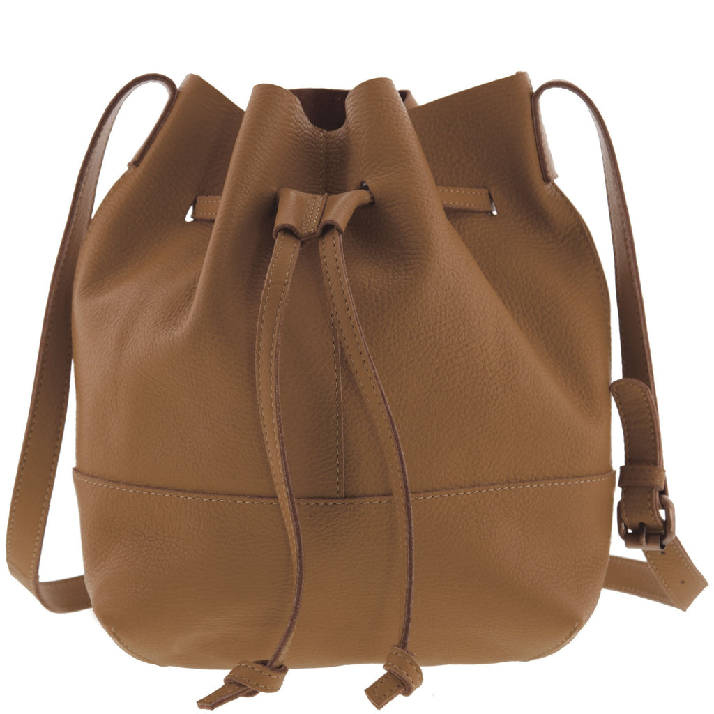 Althea Monogram Leather Drawstring Bucket Bag