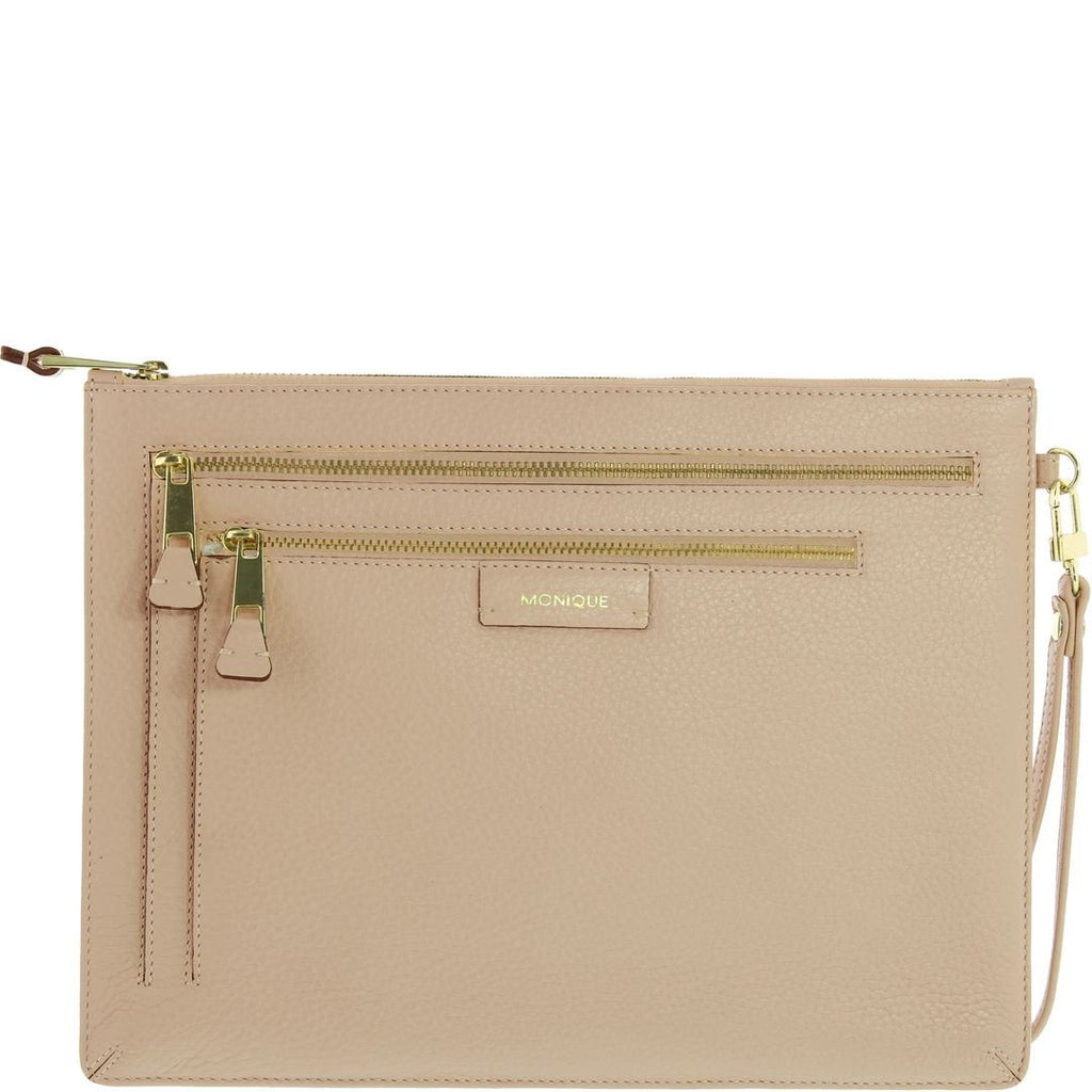 Monique-Kiara Leather Clutch-NUDE-Clutch |Gabee.com.au leather, Bags & Accessories since 1949 - 1