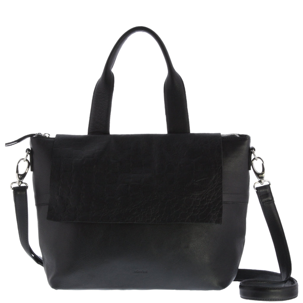 Penelope Leather Flap Messenger Bag
