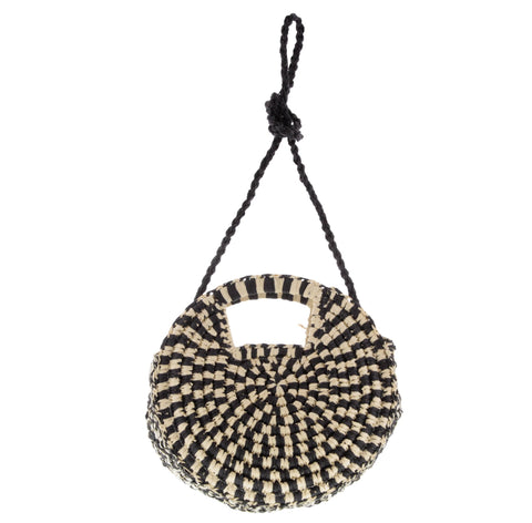 Pebble Round Woven Two-Tone Crossbody