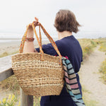 Hand Woven Shopping Basket with Sari Handles - Refill Nation