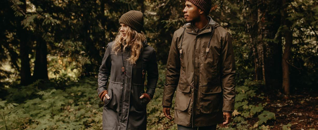 Men's and women's waxed canvas outerwear