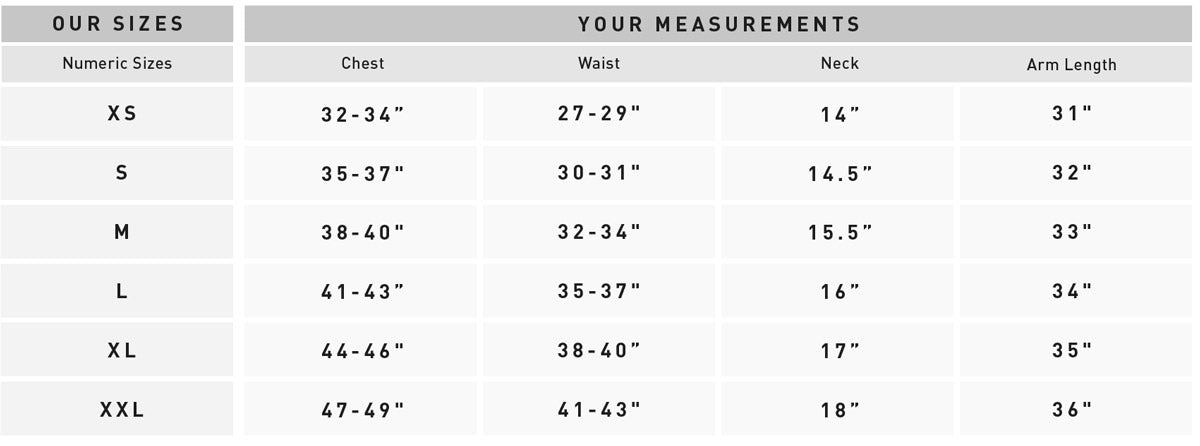 Bridge & Burn men's size chart