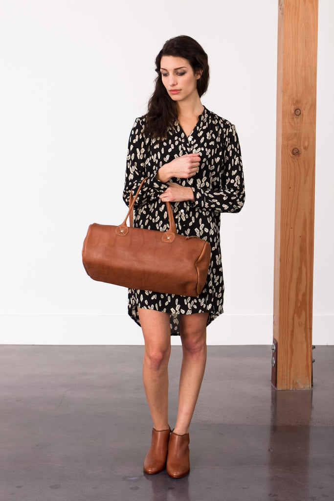 Bridge & Burn Leaf Print Dress and Leather Duffle