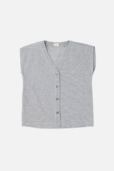 Bridge & Burn boxy cut shirt Nora charcoal stripe