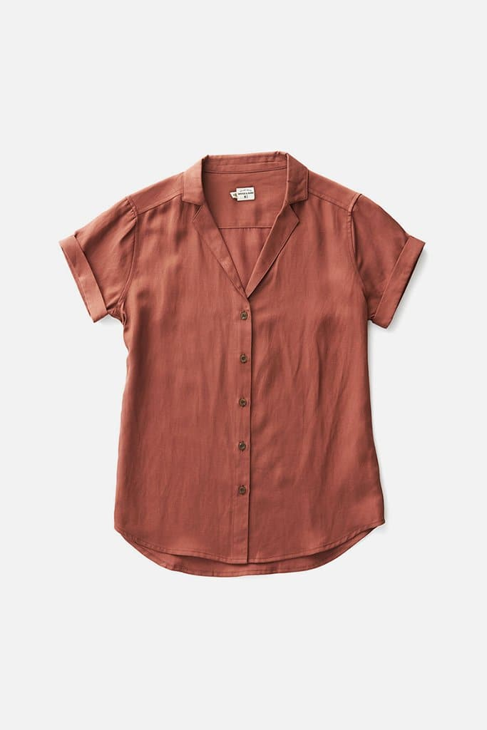 Bridge & Burn burgundy button up shirt womens Innes copper