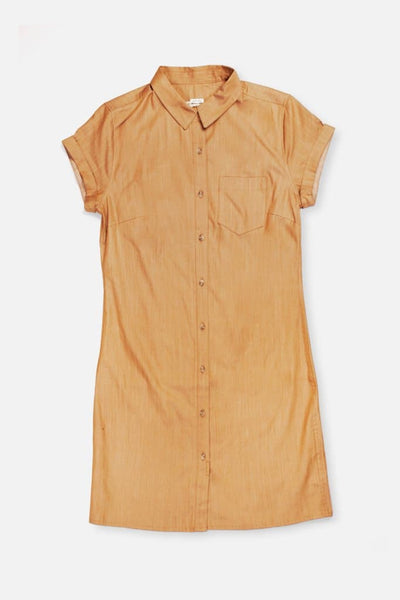 Bridge & Burn loren honey short sleeve button down shirt dress