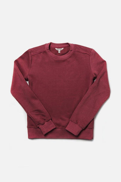 Bridge & Burn linnton burgundy women's plain crew neck sweatshirts
