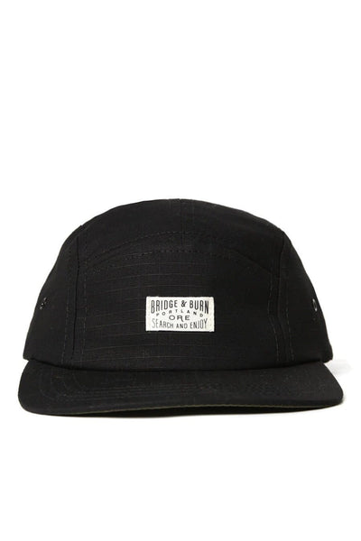 Search & Enjoy Camper 5 Panel Cap Black Ripstop