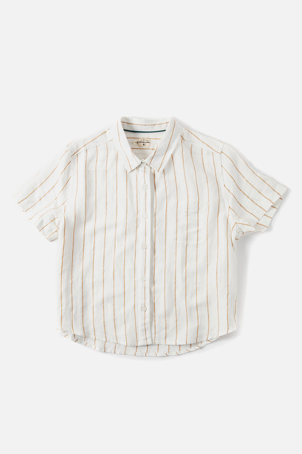 Women's White and Tan Striped Cropped Button Up Short Sleeve Top