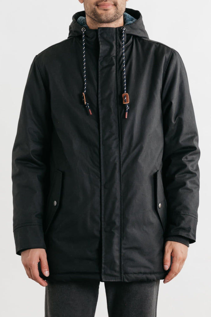Sitka Black Bridge & Burn men's lined waxed cotton parka