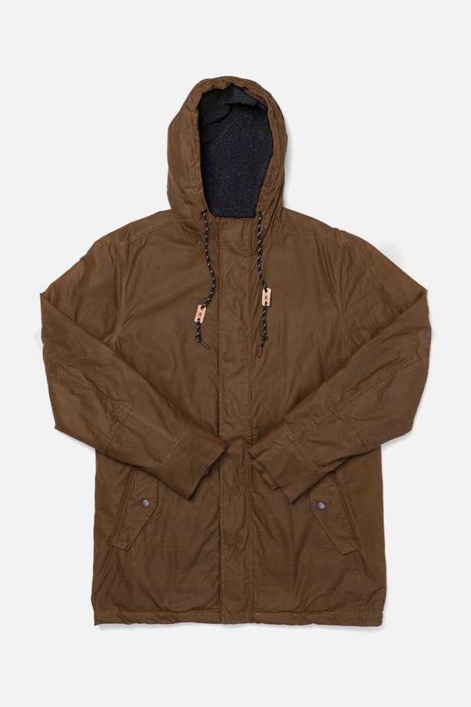 Sitka Whiskey Brown Bridge & Burn men's lined waxed cotton parka