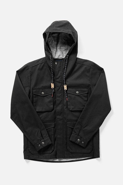 Fraser Black Herringbone Bridge & Burn men's hooded waxed cotton jacket