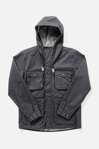 Fraser Grey Herringbone Bridge & Burn men's hooded waxed cotton jacket