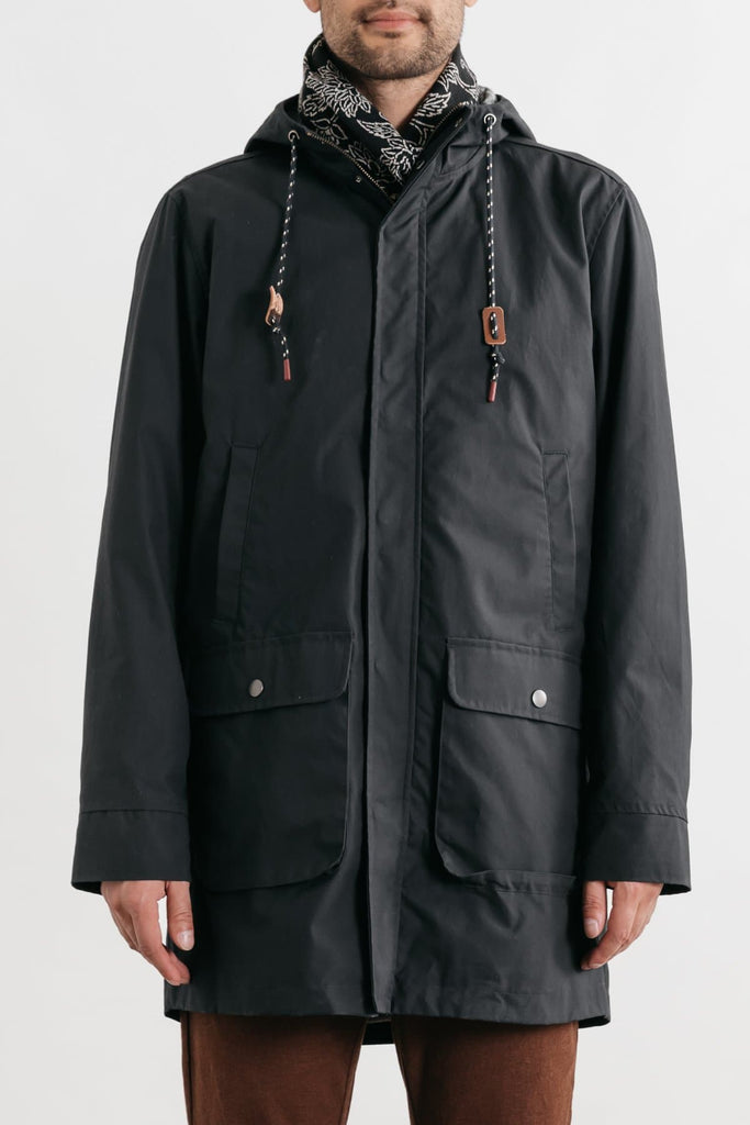 Rainier Navy Bridge & Burn men's long-length hooded waxed cotton jacket