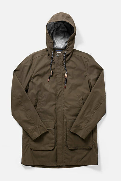 Rainier Olive Drab Bridge & Burn men's long-length hooded waxed cotton jacket