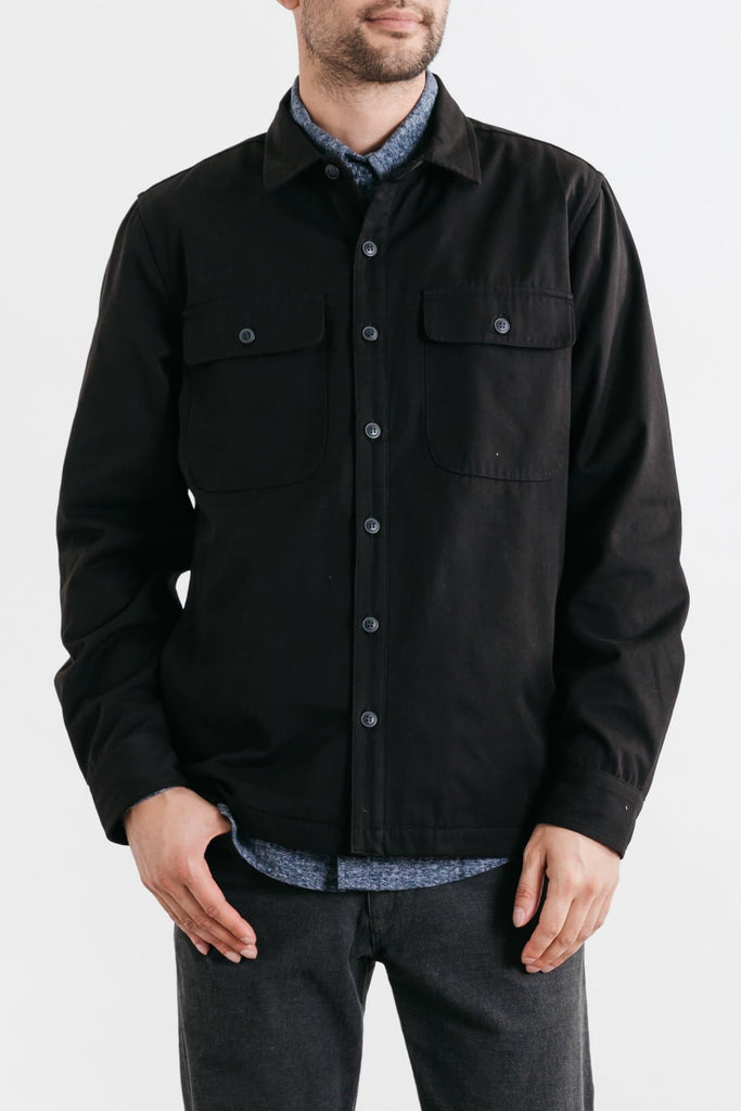 Crest Black Bridge & Burn men's canvas overshirt