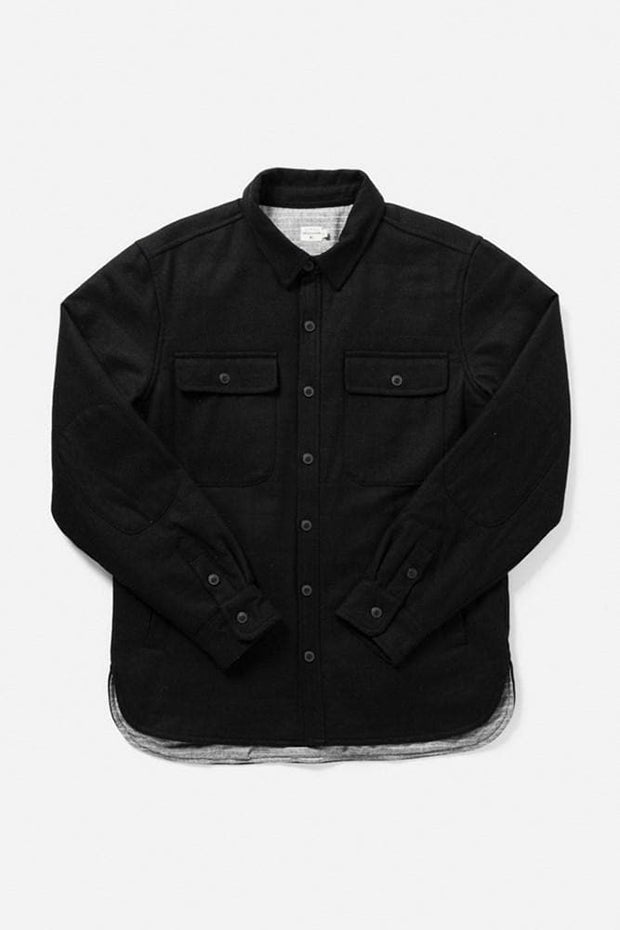 Russell Black Wool Bridge & Burn men's quilted lined overshirt