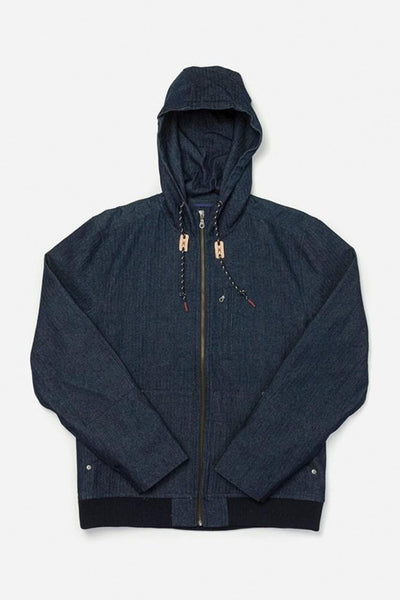 Emmett Indigo Herringbone Bridge & Burn men's hooded workwear jacket