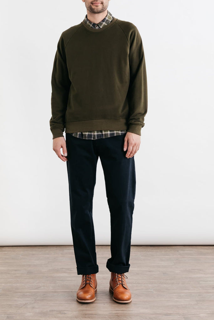 Fremont Dark Olive Bridge & Burn men's crewneck sweatshirt