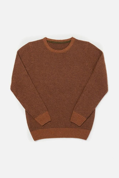 Brighton Rust Bridge & Burn mens mid-weight waffle knit sweater