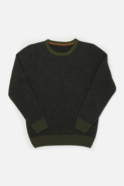 Brighton Olive Bridge & Burn mens mid-weight waffle knit sweater