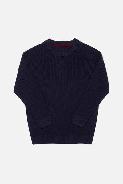 Rowan Navy Bridge & Burn men's ribbed crewneck sweater