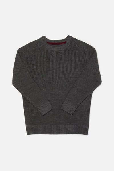 Rowan Charcoal Bridge & Burn men's ribbed crewneck sweater
