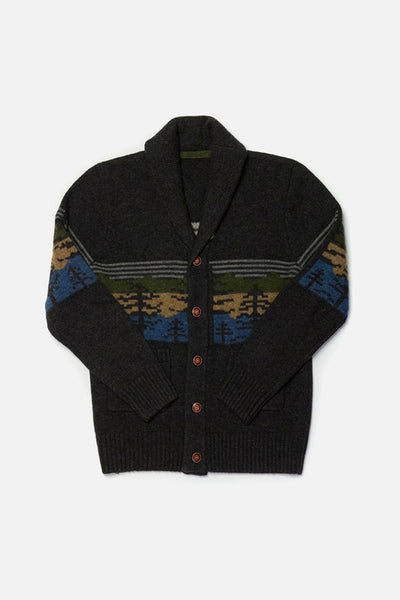 Sprague Charcoal Multi Bridge & Burn men's shawl collar cardigan